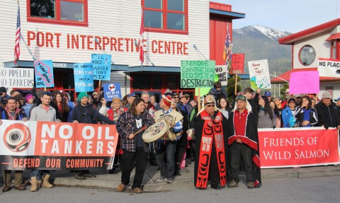 Over two hundred people came to rally outside the Port of Prince Rupert offices and let them know our port at the mouth of the Skeena is no place for a tar by rail terminal and tankers.